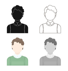 Curly boy icon cartoon single avatarpeaople icon vector