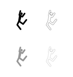 dancer stick black and grey set icon vector image vector image