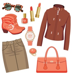 Fashion set with skirt and a jacket vector image vector image