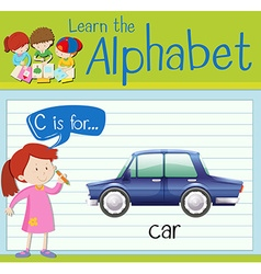 Flashcard letter c is for car vector