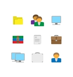 Flat office icons vector image