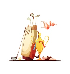 Golf Bag And Trophy Retro Icon vector image vector image