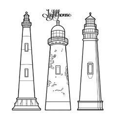 Graphic lighthouses set vector