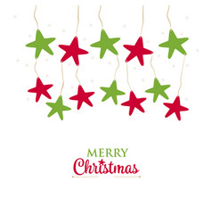 greetings christmas hanging stars on a white vector image vector image
