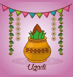 Happy ugadi festival set template greeting card vector