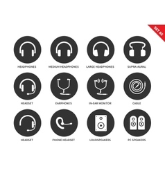 Headphones icons on white background vector image vector image