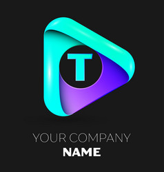 Letter t symbol in the colorful triangle vector