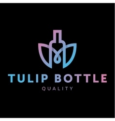 Logo combine tulip flower with bottle style in vector image