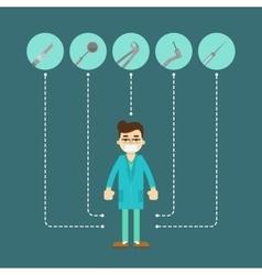 Male dentist in blue medical uniform vector