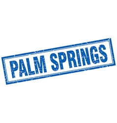 Palm springs blue square grunge stamp on white vector