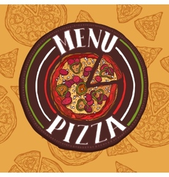 Pizza sketch menu vector