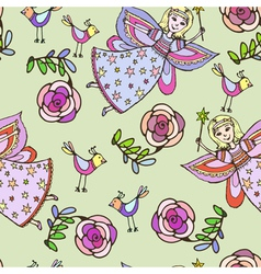 seamless pattern sketch of fairy vector image