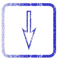 Sharp arrow down framed textured icon vector