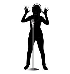 silhouette girl singing vector image vector image