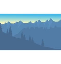 Silhouette of house on the mountain vector