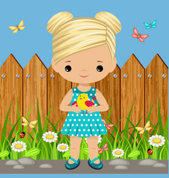 sweet girl with a bird in his hands vector image vector image