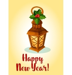 Happy New Year Lamp cande lantern with holly bow vector image