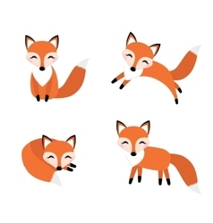 Cute fox set flat style foxy in different poses vector