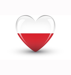Heart-shaped icon with national flag of poland vector