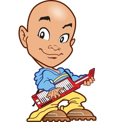 Bald keyboard player vector