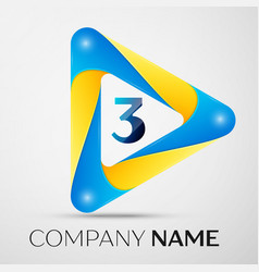 number three symbol in the colorful triangl vector image