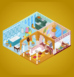 Arabian interior design isometric vector