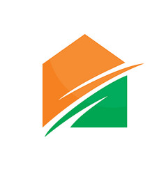 Abstract house arrow logo image vector