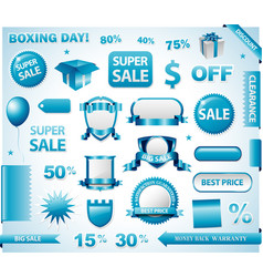 Blue price tags set vector
