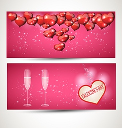 Horizontal flyers with glasses and a heart with a vector