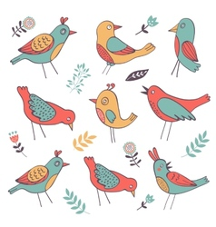 Cute colorful birds collection vector