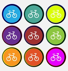 Bicycle icon sign nine multi-colored round buttons vector