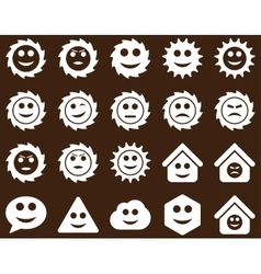 Tools gears smiles emotions icons vector image