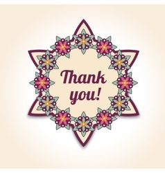 Thank you floral card in  template for vector