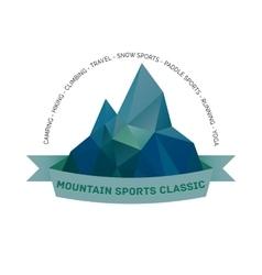 Mountain themed outdoors emblem logo vector image