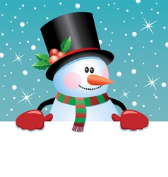 Snowman holding blank paper vector