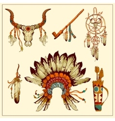 Totem native american set vector