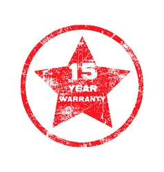 Fifteen year warranty red grungy stamp vector