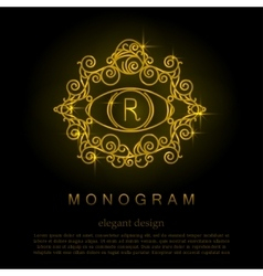 Stylish elegant monogram mono line art design vector