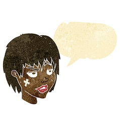 Cartoon woman with plaster on face with speech vector