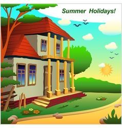 A small cottage on the nature of summer vector