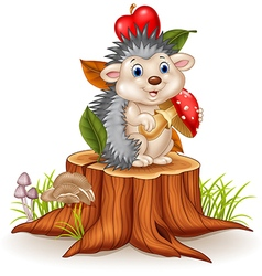 Little hedgehog holding mushroom on tree stump vector image