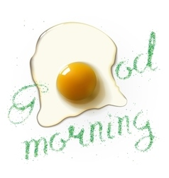 Fried egg morning vector