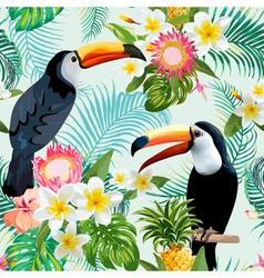 Tropical flowers and birds background toucan bird vector