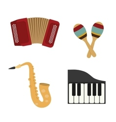 Accordion maraca piano and saxophone icon music vector