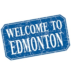 Welcome to edmonton blue square grunge stamp vector