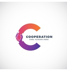 Cooperation abstract sign symbol or logo vector