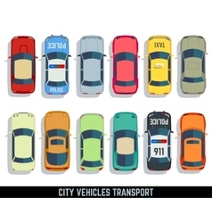 Cars top view flat city vehicle transport vector
