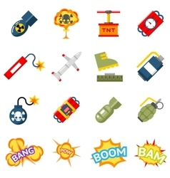 Bomb flat icons Bombs and explosives pictograms vector image vector image