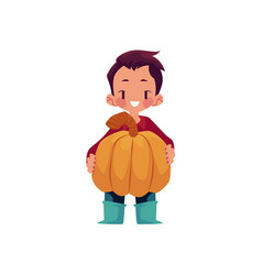 Boy keeps big pumpkin isolated vector