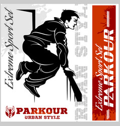 boy parkour is jumping - and emblem - vector image